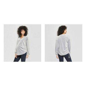 Isabel Maternity Grey Velour Pullover Sweatshirt